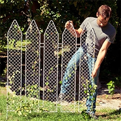 Andrea Rekalidis' PiantaLà ~ lovely combo of metal fencing and a traditional white picket fence... perfect for plants to climb up.