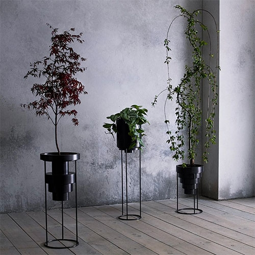 Anna Karlin Layered Planters - cold rolled stainless steel planters with steel bases.