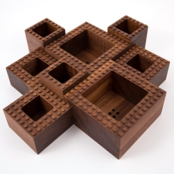 Made by NOTCOT: Plant Experiment #1 is a limited edition trio of walnut planters. Every piece is CNC milled from a single block of walnut and hand-finished in Los Angeles at NOTlabs, our design studio. Bonus - they are Lego®-compatible!