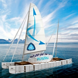 The Plastiki is a 60-foot environmentally friendly catamaran floating on approximately 12,000 reclaimed whole plastic bottles which have been highly pressurized.