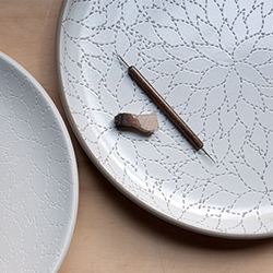 "The Alabama Chanin Collection at Heath Ceramics - They describe it as ""The point of intersection between stitch and clay."" Stunning! Hard not to want the whole collection."