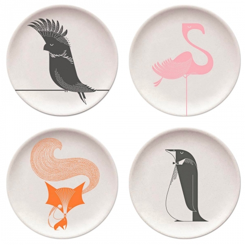 I Ended Up Here Bamboo Plates... fun illustrated animal plates by Dan Adams.