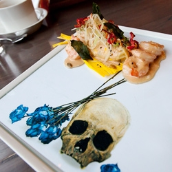Artfully plated food takes on a new meaning at Playa. Chef John Sedlar serves up delicious mixed media art installations, cleverly utilizing art under glass to recontextualize the food on the plate and change the story it tells.