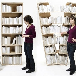 The Platzhalter Bookshelf was designed by a young German duo Nina Farsen and Isabel Schöllhammer - When you're running out of bookshelf space, just stretch your bookshelf and voila!