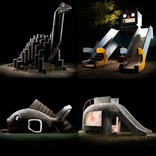 Kito Fujio has the most incredible gallery of photos of Japanese Park Playground Equipment at night. So many fun nature inspired designs and funky architectural forms.