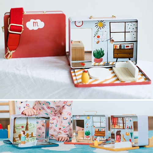 Play Maysie - mini doll house play spaces inspired by vintage tin lunchboxes and filled with interchangeable magnetic rooms with fixed wooden furniture. Launching soon on kickstarter.