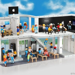 ThinkGeek's Playmobil Apple Store complete with iPhone display and optional Line Pack (with a tiny Woz on a tiny Segway) for April Fools' Day