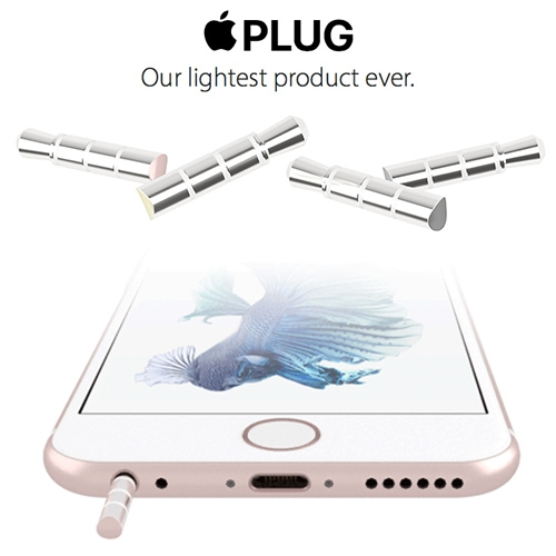 "Apple Plugs - ""Upgrade to iPhone 7 with Apple Plug. Once in place, Apple Plug cannot be removed. But why would you want to? Would you want to downgrade? We didn't think so."""