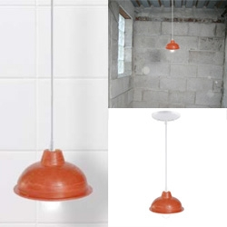 Plunger Lamp by Irina Blok ~ for the ultimate super creepy bathroom lighting?