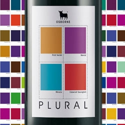 Brand Session's design for Plural Wine incorporates the Osborne Bull and uses Pantone colors to identify the constituent grapes.