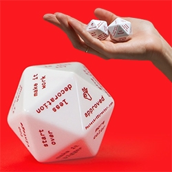 """Fuzzco Pocket Art Director Dice! """"A custom 20-sided die, made mostly in America from fine European plastics. Each face offers concise, constructive art direction when you need it most."""""""