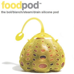 FoodPod! From Fusion Brands ~ this silicon pod can hold just about anything you want to boil, blanch, steam, drain... and you can just dunk it into the pot ~ retrieve it with its handle! See the pics!