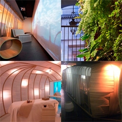 Six Senses Spa Paris ~ architecturally fascinating wooden cocoons, living walls, and augmented reality projections (live views of the eiffel tower, you wouldn't know you were in a subterranean oasis)