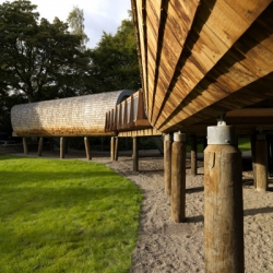 KITA Design completed this Forest Classroom pods for a prep school in Windermere, UK. Made from English Chestnut shingles and a ribbed timber frame, the 2 pods are connected by a deck constructed of timber and recycled plastic milk bottles...