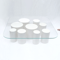 'Pointillism' coffee table, made of glass and lacquered cylinders, by Julien Vidame.