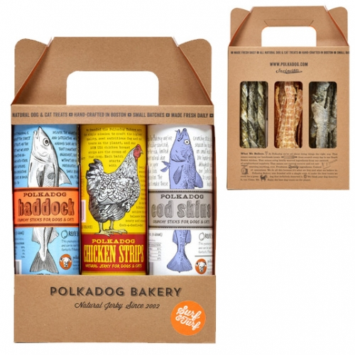 Polka Dog 3-Pack Surf & Turf Set. A trio of dehydrated cod skin, chicken, and haddock skin treats for dogs and cats (Bucky loves them!) The graphics and packaging are lovely. Each are in large clear plastic tubes inside the gift box.