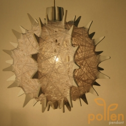 The Pollen Pendant lamp - by wrapping and weaving the material of choice around this pollen shaped structure, the user is able to provide their own personal touch.