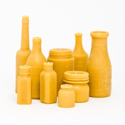 Pollen Arts is making 100% beeswax candles in the shape of vintage and antique bottles, straight out of their winnebago in Los Angeles.