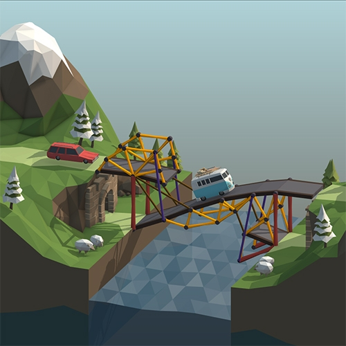 Poly Bridge by Dry Cactus. Adorable physics game with such fun cars and landscapes! Build bridges to help them cross safely.