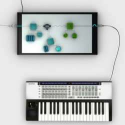 Poly.Touch is a tangible synthesizer with sound modules ( cubes) and devices ( MTT Screen). The basic idea of this Synthesizer is that electricity makes sound.