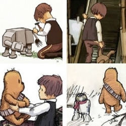 Absolutely adorable versions of Han Solo, Chewbacca and R2D2 as characters from Winnie-the-Pooh.