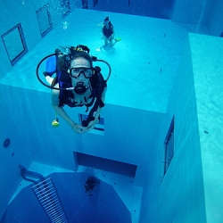 This is the world's deepest pool, located in Belgium.  It's open for swimming and diving lessons.  Very cool business philosophy.