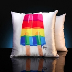 The famed Pop-Art Designer with a bent towards Rock-N-Roll, Kii Arens, has created a limited edition of Pop styled silk pillows!