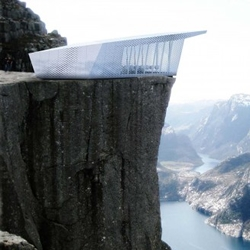 'The Cube' portable pop-up restaurant will travel to some of the most stunning sites in Europe, and sit atop famous buildings, monuments and cliffs.  By architectural design studio Park Associati for Electrolux.