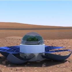 Popeye, the self-supporting greenhouse for living on Mars that grows spinach, designed by Greek students, winners of NASA contest.