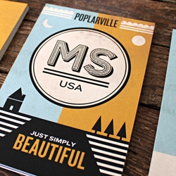 Kyle White designs a beautiful series of postcards for the city of Poplarville, Mississippi.