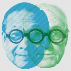 Amusing portrait of two iconic architects, I.M. Pei and Phillip Johnson.