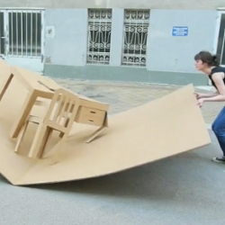 Pop Up Office made of cardboard, by Liddy Scheffknecht and Armin B. Wagner.