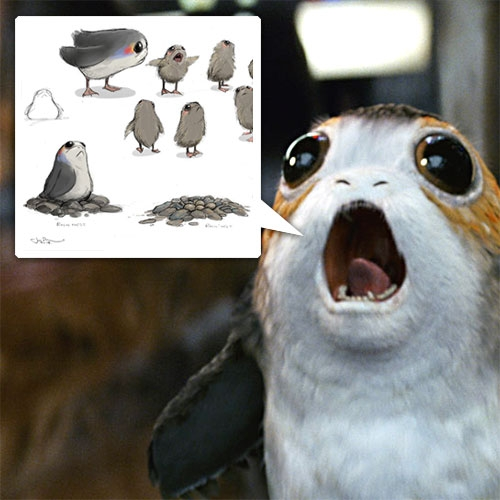 Porgs! Basically Star Wars Puffins... love that the easier, awesomer solution to digitally erasing or physically removing the puffins that live on the Irish Island of Skellig Michael was to turn them into Porgs!