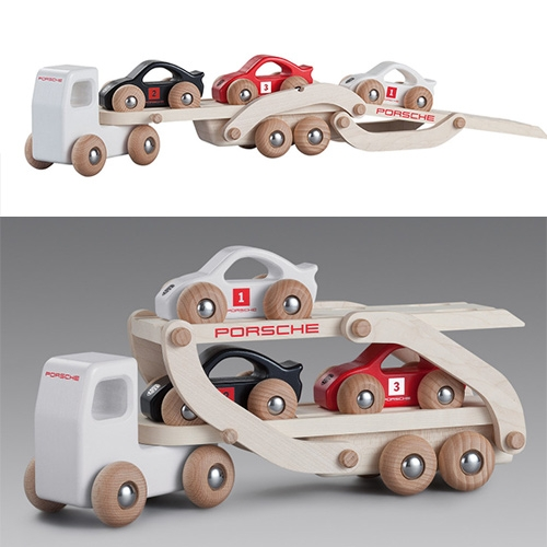 Porsche Wooden Racing Truck (complete with 3 red, white, and black cars)