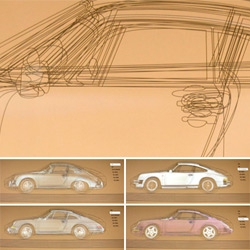 Porsche 911 Evolutions ~ projected over overlayed outlines ~ amazing installation at the Porsche Museum ~ see the video!