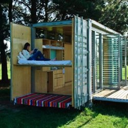 The port-a-bach is a relocatable cabin made from a 20-foot shipping container, complete with kitchen & bath and sleeps four.