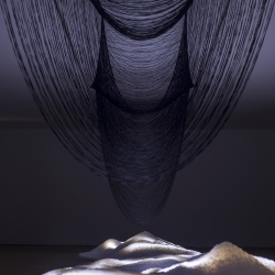 Art installation by Sara Coleman in Eugenio Granell Foundation, Spain, developed in collaboration with Jose Bravo of the Textile Laboratory, University of Vigo.