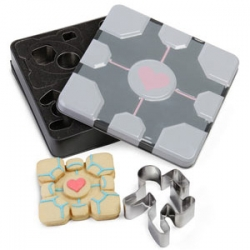 Portal cookie cutters! Portal, Turret, Running Test Subject, Falling Test Subject, Companion Cube (the cube is 4 cooke cutters!)