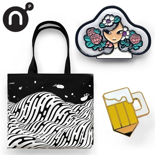 Nucleus Portland's store is filled with artistic temptations... here's their new TRANSPARENT Meyoco pin, Brendan Monroe tote, and Drink & Draw Society pin!
