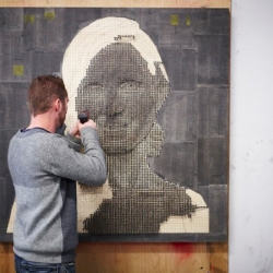 Unusual 3D mural portraits made by drilling screws into wood by Andrew Myres.