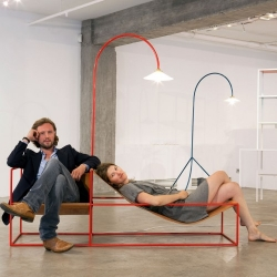 What a fun project by Belgium-based design studio Muller Van Severen, the Duo-Seat & Lamp. This project was presented at Milan Design Week 2013 this month.