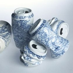 Beautiful, intricately painted porcelain soda cans by Lei Xue.