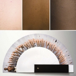 French designer Pierre David created a Pantone-like swatch book of skin tones for an installation in Brazil.