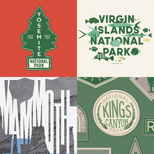 Type Hike: A typographic Exploration of America's National Parks. Type Hike is a collaborative design project including 60 designers and typographers, each creating a unique design for a park they love. Organized by David Rygiol and James Louis Walker.