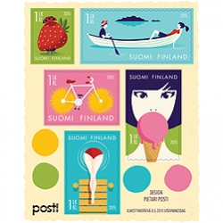 Pietari Posti's Summer feeling Finnish stamp sheet comprises five stamps depicting traditional Finnish summer highlights!