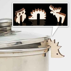 Huset Pot Guards - little laser cut wooden hedgehogs, moose, and owls...