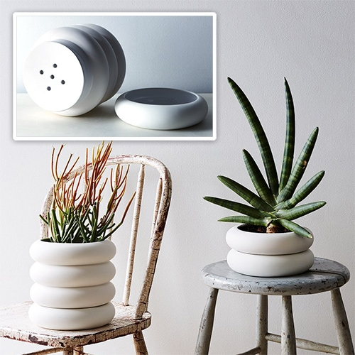 Food52 Stacked Porcelain Planter by Chen Chen and Kai Williams. Fun design where the saucer disappears into the design!