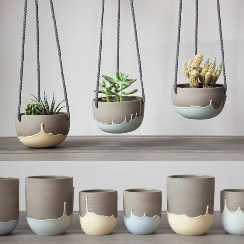 Parceline Ceramics - lovely dripping stoneware collection of cups, pots and more.