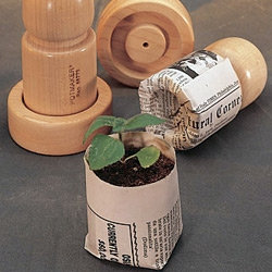 Pot Maker - Make your own biodegradable  seed starting pots with newspaper in these hardwood molds!