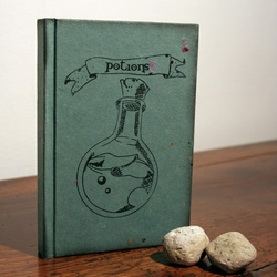 Potions ~ celestefrittata has some tempting magical notebooks inspired by the world of Harry Potter ~ her blog also has gorgeous walkthroughs of this marine bio student's bookbinding hobby